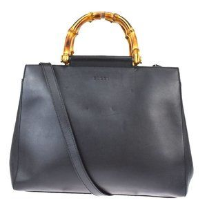 GUCCI Bamboo 2Way Tote Hand Bag Leather Black Gold